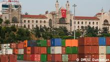 Containers at the Port of Haydarpaşa and the Turkish flag in Istanbul, August 2019