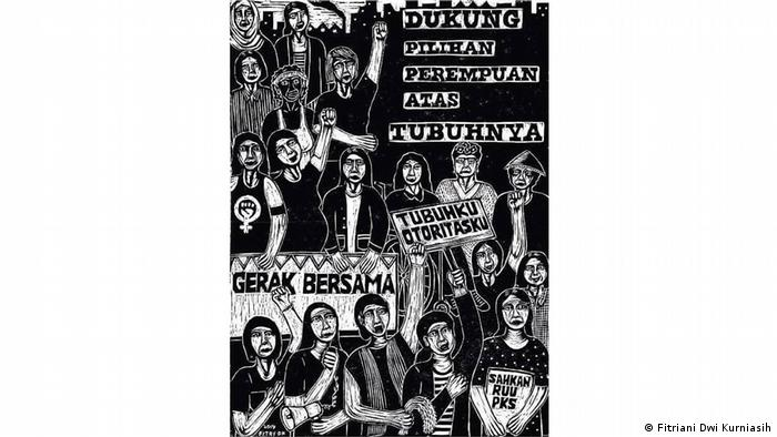 Holzschnitt gegen das geplante Kriminalgesetz Indonesien von Fitriani Dwi Kurniasih