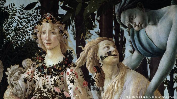 Ausschnitt aus Der Frühling von Sandro Botticelli (1445-1510), 1477. Weibliche Figuren und eine Windgottheit