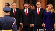Präsidenten der Visegrader Gruppe vor dem Schloss Lány bei Prag