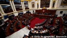 View of the National Congress in Lima on June 4, 2019, as lawmakers discuss a motion of confidence requested by the government to approve its anti-corruption reforms, which if rejected can trigger the constitutional dissolution of the legislative body and the resignation of the cabinet. (Photo by Cris BOURONCLE / AFP) (Photo credit should read CRIS BOURONCLE/AFP/Getty Images)