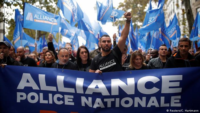 Французские полицейские на акции протеста 2 октября 2019 года