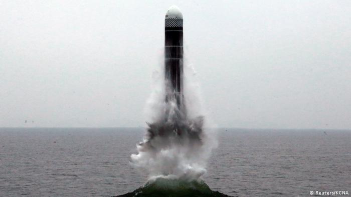 Фото ракеты, опубликованное государственным информагентством КНДР 2 октября 2019 года