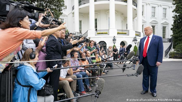 US-Präsident Donald Trump Anfang Oktober vor dem Weißen Haus