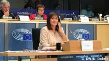 Kroatische Europarlamentarierin Dubravka Suica bei der Anhörung im Europaparlament. Copyright: D. Dobrić/DW Bruxelles, 3.10.2019