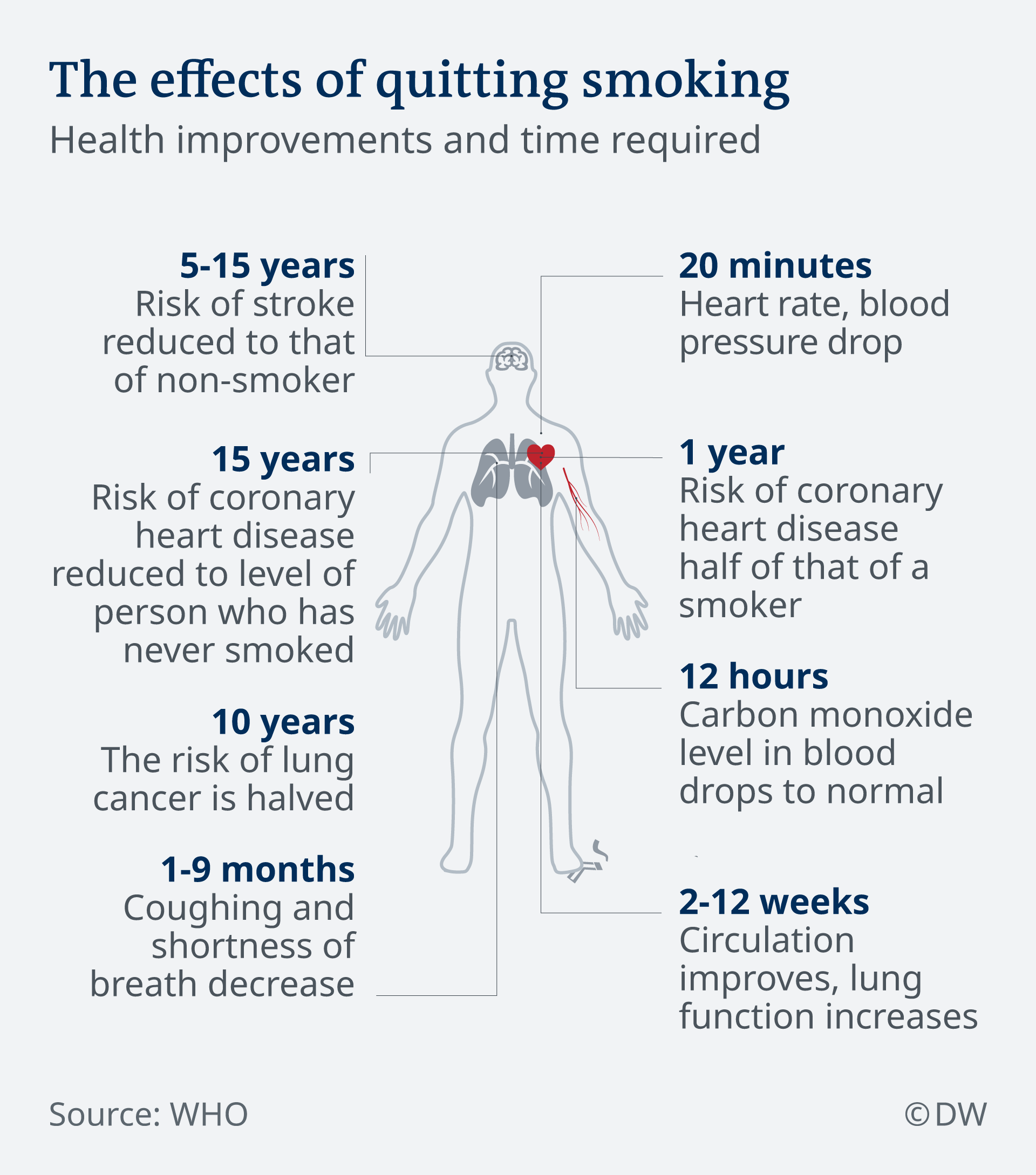 Infographic showing the effects of quitting smoking of the body