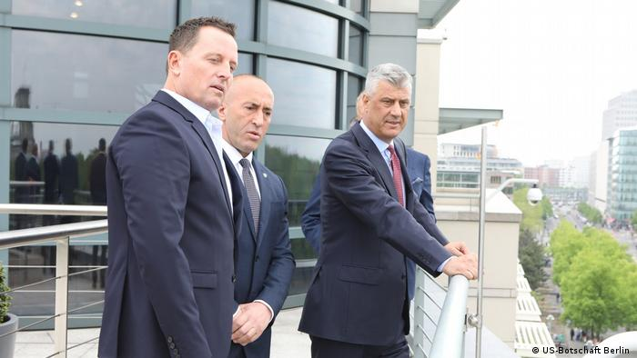 Richard Grenell (left), with Prime Minister Ramush Haradinaj (center) and President Hashim Thaçi (right), both of Kosovo, at the US Embassy in Berlin.