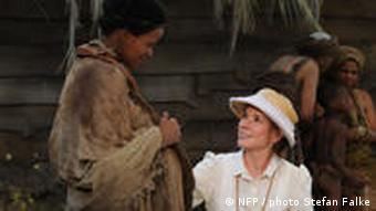 A scene from the film shows Hershey, who plays Schweitzer's wife working with women in the African village