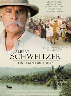 A poster of the film with Schweitzer in the forefront