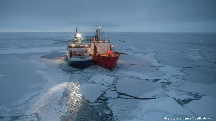 Research vessel Polarstern on an ice floe