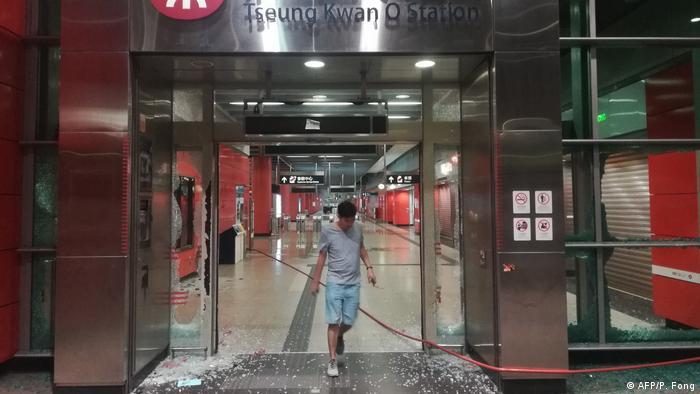 Honkong Tseung Kwan-U-Bahn-Station nach den Protesten