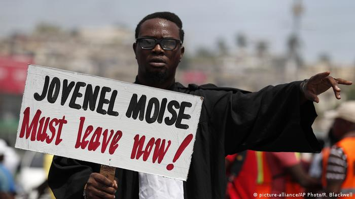 Haitian protester at a demonstration in Port-au-Prince in October 2019