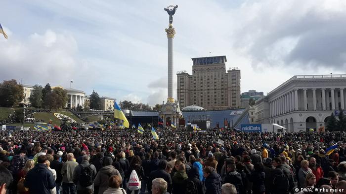 Тисячі людей вийшли у Києві на віче проти формули Штайнмаєра для Донбасу