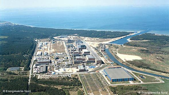 An aerial picture of the now defunct Lubmin nuclear power plant.