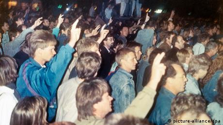 Demonstrators making the peace sign in Leipzig, October 2, 1989