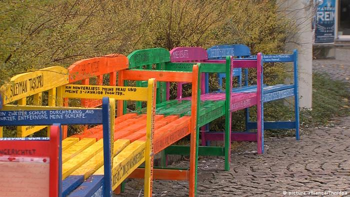 Colorful benches honoring NSU victims in Zwickau