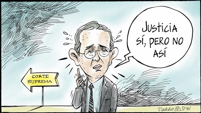 Karikatur von Vladdo Prozess Alvaro Uribe