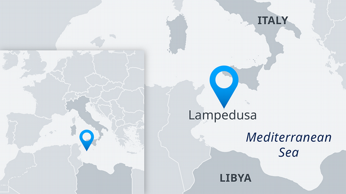 Map showing location of Lampedusa EN