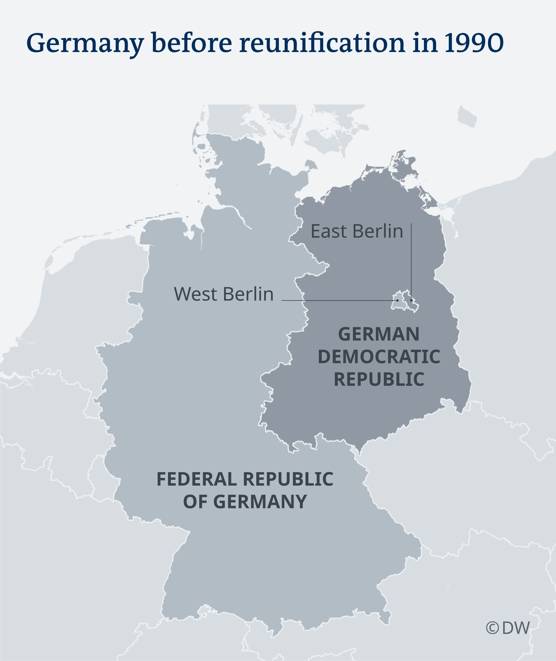 A map of East and West Germany