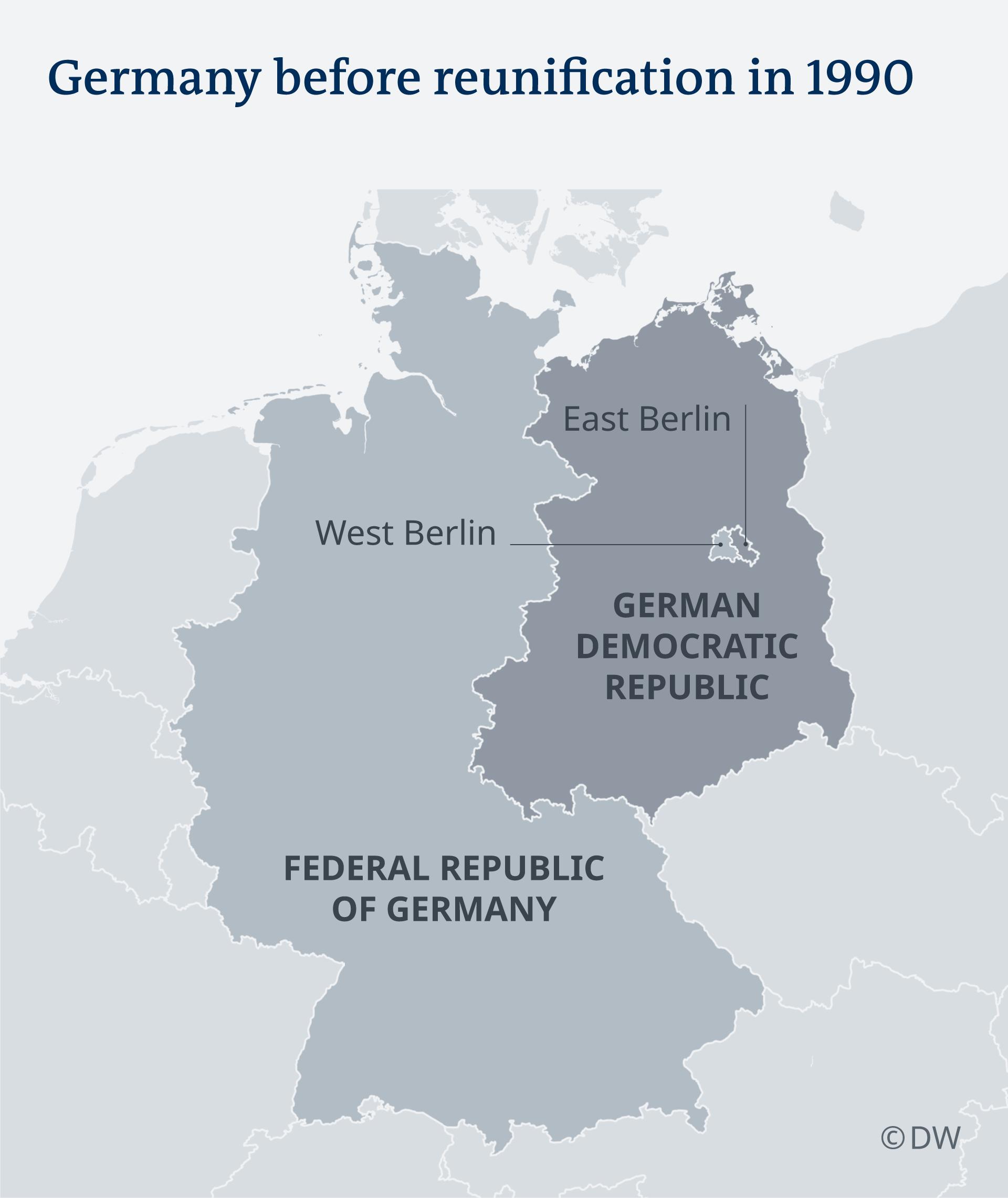 Karte Deutschland vor der Wiedervereinigung EN