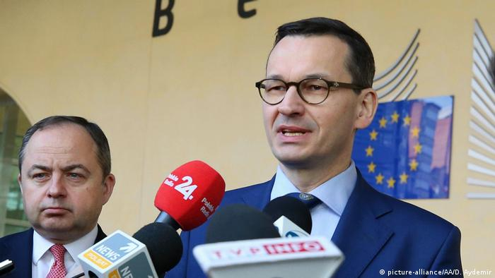 Polish Prime Minister Mateusz Morawiecki holds a press conference after attending signing ceremony of granting agreement for the Baltic Pipe Project