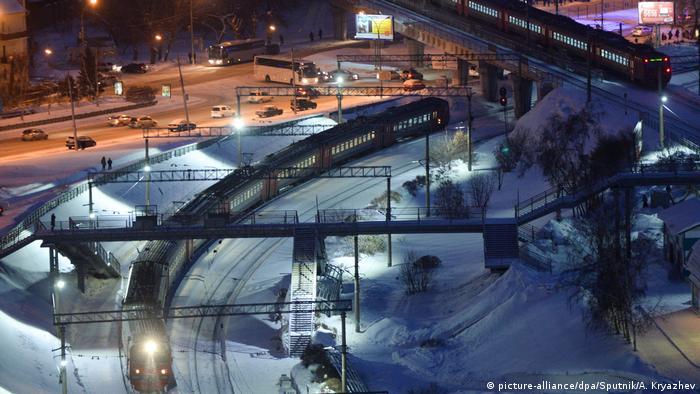 Vista aérea de trecho da Ferrovia Transiberiana