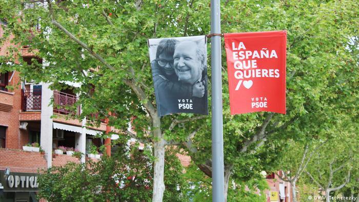 Уличная агитация социалистов в Мадриде