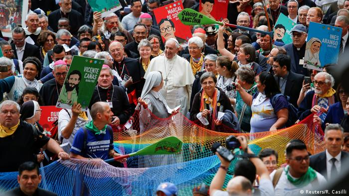 Pope Francis in a crowd of people