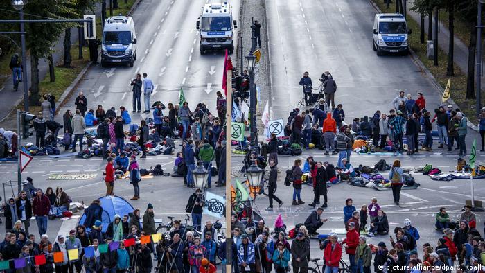 Ativistas do Extinction Rebellion bloquearam cruzamento conhecido como Grosser Stern, em Berlim