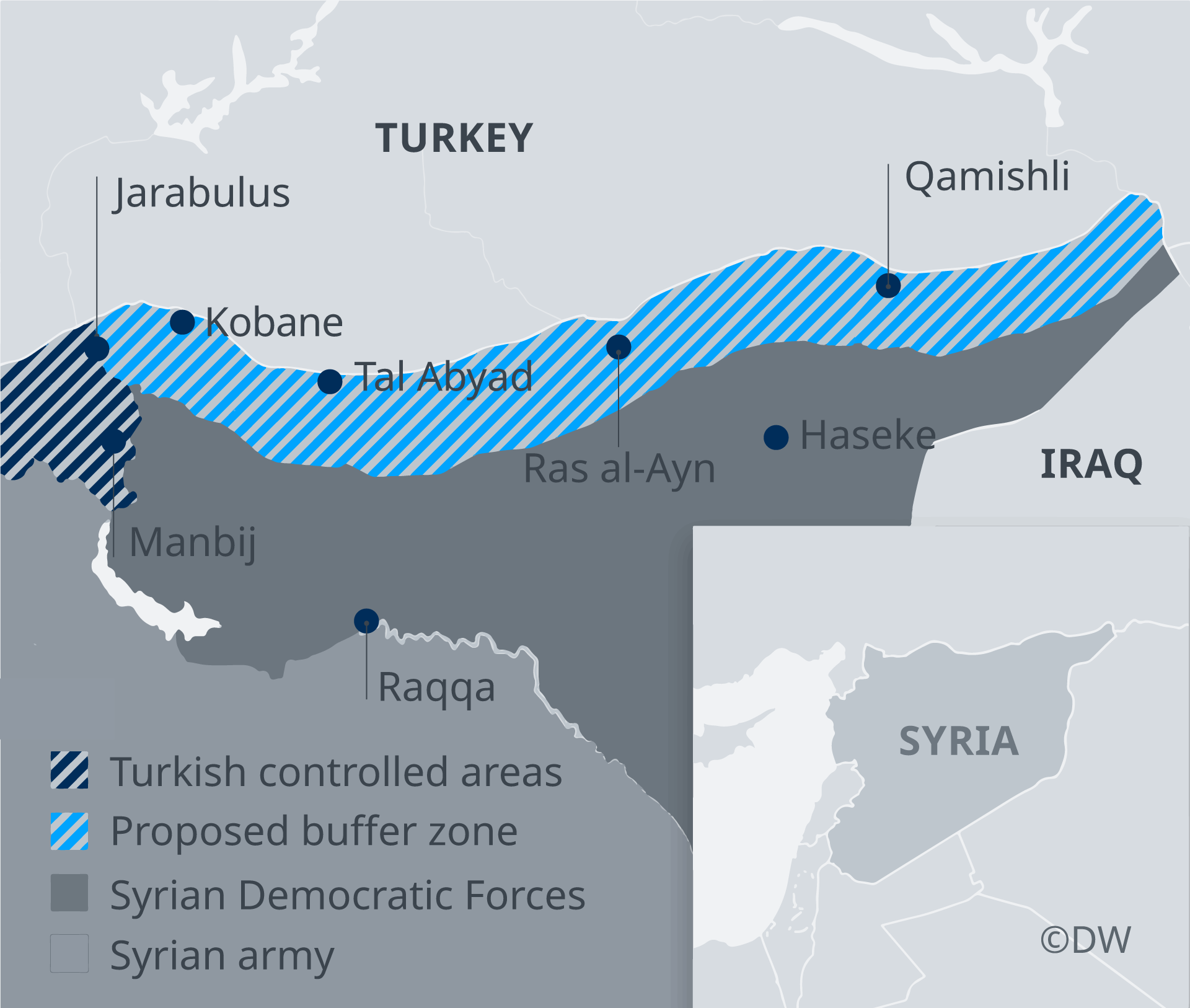Map showing which groups control which pars of northern Syria