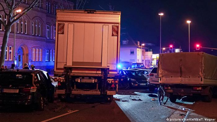 A stolen truck crushes cars in Limberg, Germany