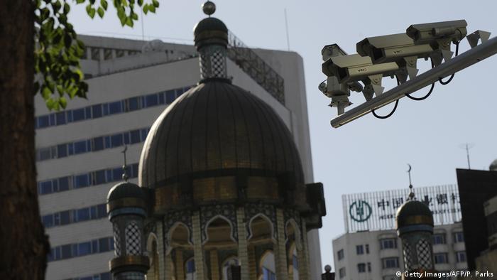 Security cameras on a street in Urumqi, Xianjiang, China