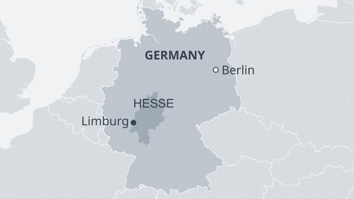 Map of Germany highlighting Hesse and Limburg