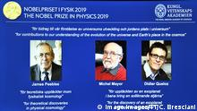 A screen displays the portraits of the laureates of the 2019 Nobel Prize in Physics L-R James Peebles, Michel Mayor and Didier Queloz, during a news conference at the Royal Swedish Academy of Sciences in Stockholm, Sweden, on Oct. 08, 2019. STOCKHOLM SWEDEN x10090x A screen displays the portraits of the laureates of the 2019 Nobel Prize in Physics L R James Peebles, Michel Mayor and Didier Queloz, during a news conference at the Royal Swedish Academy of Sciences in Stockholm, Sweden, on Oct 08, 2019 STOCKHOLM SWEDEN x10090x, PUBLICATIONxINxGERxSUIxAUTxONLY Copyright: xClaudioxBresciani/TTx SWEDEN NOBEL PRIZE PHYSICS