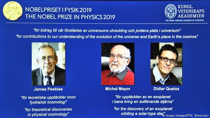 Screenshot com os três ganhadores do Nobel de Física de 2019
