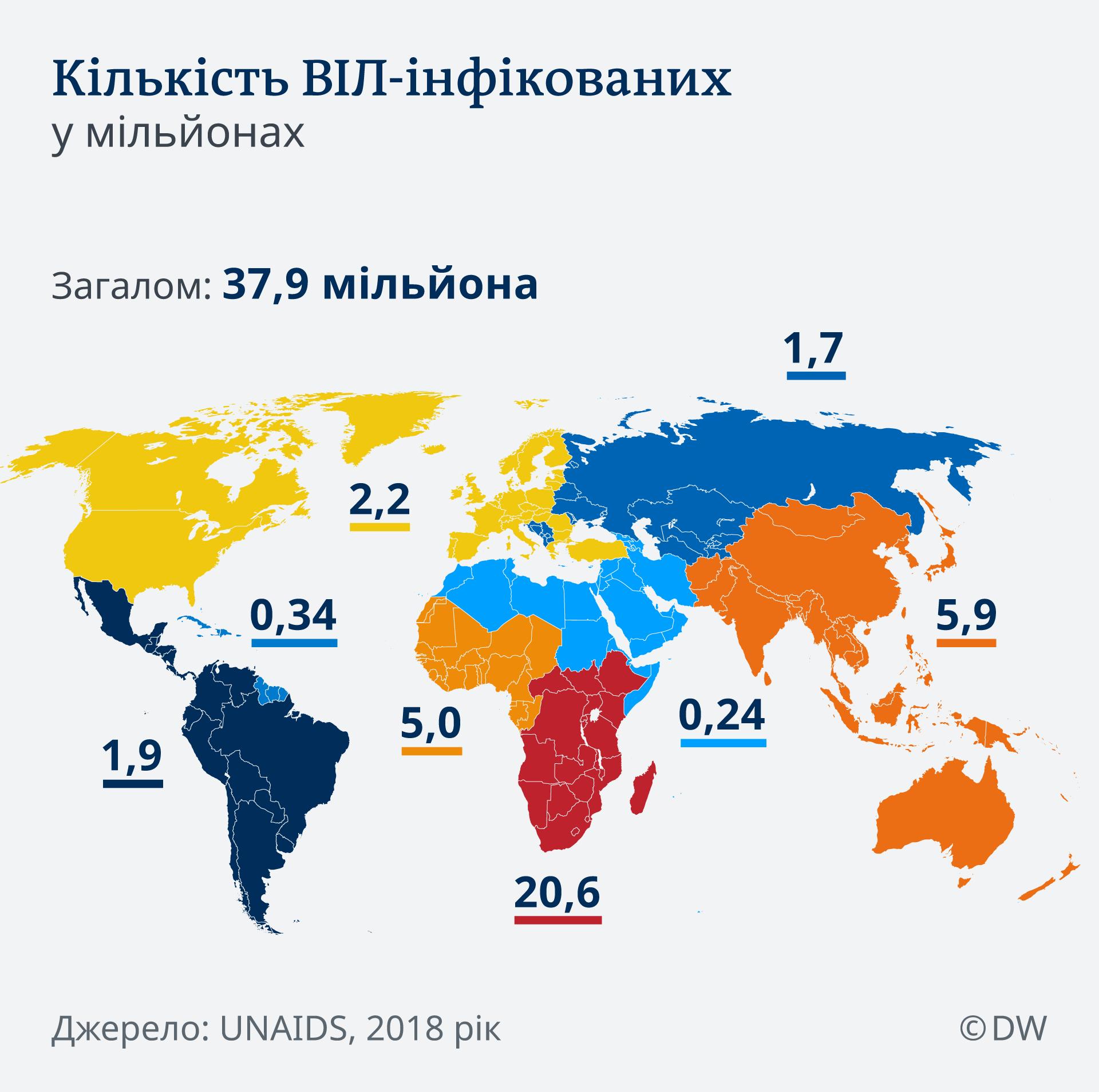 Infografik Karte HIV weltweit UK