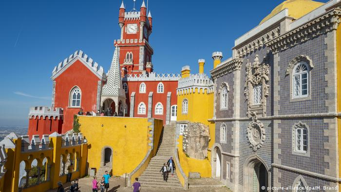 The red and yellow Palácio da Pena in the city of Sintra
