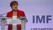 08.10.2019 *** WASHINGTON, DC - OCTOBER 08: New IMF Managing Director Kristalina Georgieva, speaks about the key issues to be addressed at the upcoming IMF / World Bank Annual Meetings, at the International Monetary Fund headquarters on October 8, 2019 in Washington, DC. (Photo by Mark Wilson/Getty Images)