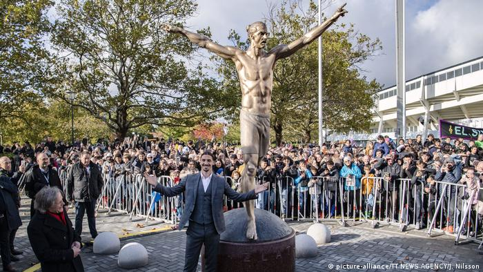 Unveiling of the Zlatan Ibrahimovic statue in Stockholm
