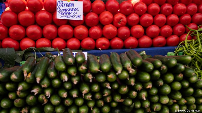 Tomatoes and cucumbers at a Turkish market