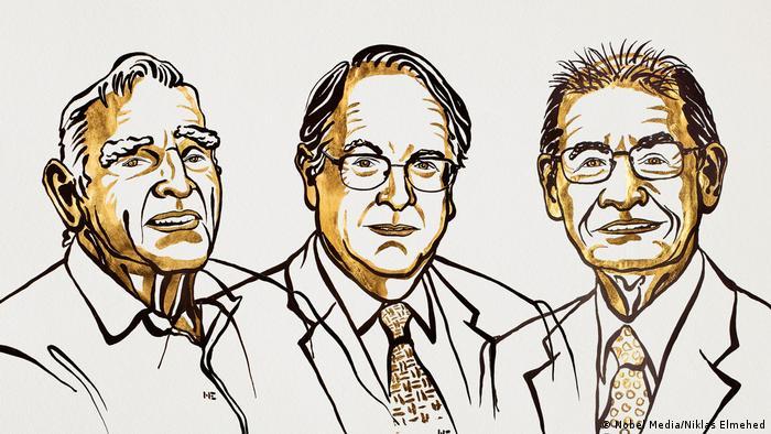 Ilustração com os Nobéis de Química de 2019