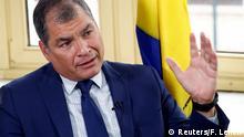 October 8, 2019*** Ecuador's former president Rafael Correa speaks during an interview with Reuters in Brussels, Belgium, October 8, 2019. REUTERS/Francois Lenoir