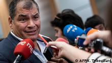 October 9, 2019*** Ecuador's former President (2007-2017) Rafael Correa gives a press conference at the European Parliament in Brussels on October 9, 2019. - Ecuador's former president Rafael Correa denied on October 8, 2019 he was orchestrating a coup against the government from his self-imposed exile in Belgium, after being accused of stoking the worst unrest in years in the Andean oil producer. (Photo by Kenzo TRIBOUILLARD / AFP)