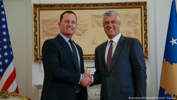 Kosovo Präsident Hashim Thaci trifft US-Botschafter Richard Grenell (picture-alliance/AP Photo/V. Kryeziu)
