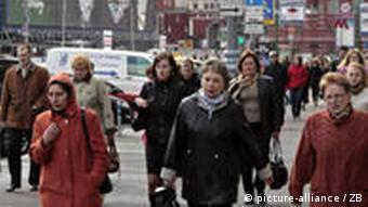 На улицах Москвы многолюдно