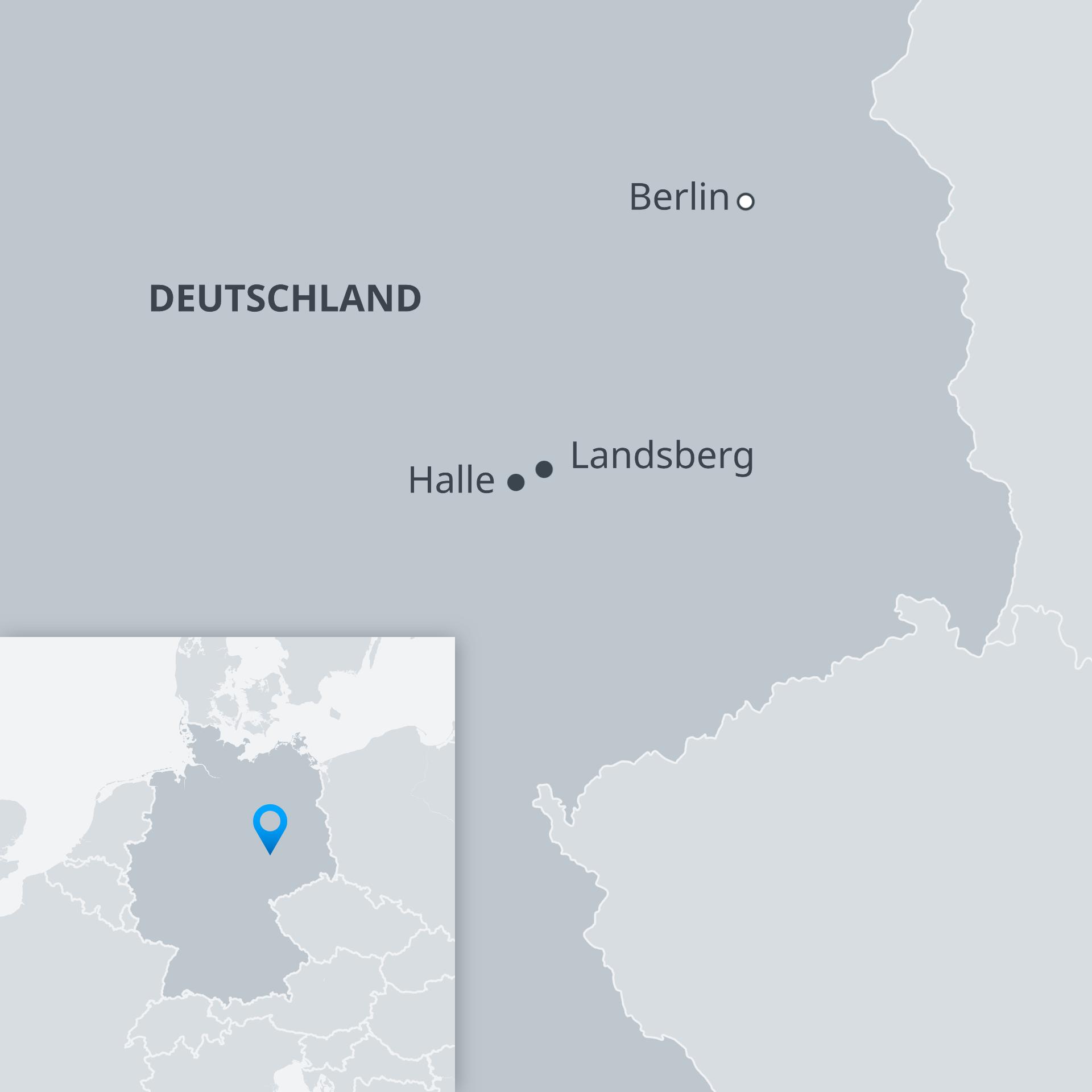 Karte Halle und Landsberg DE