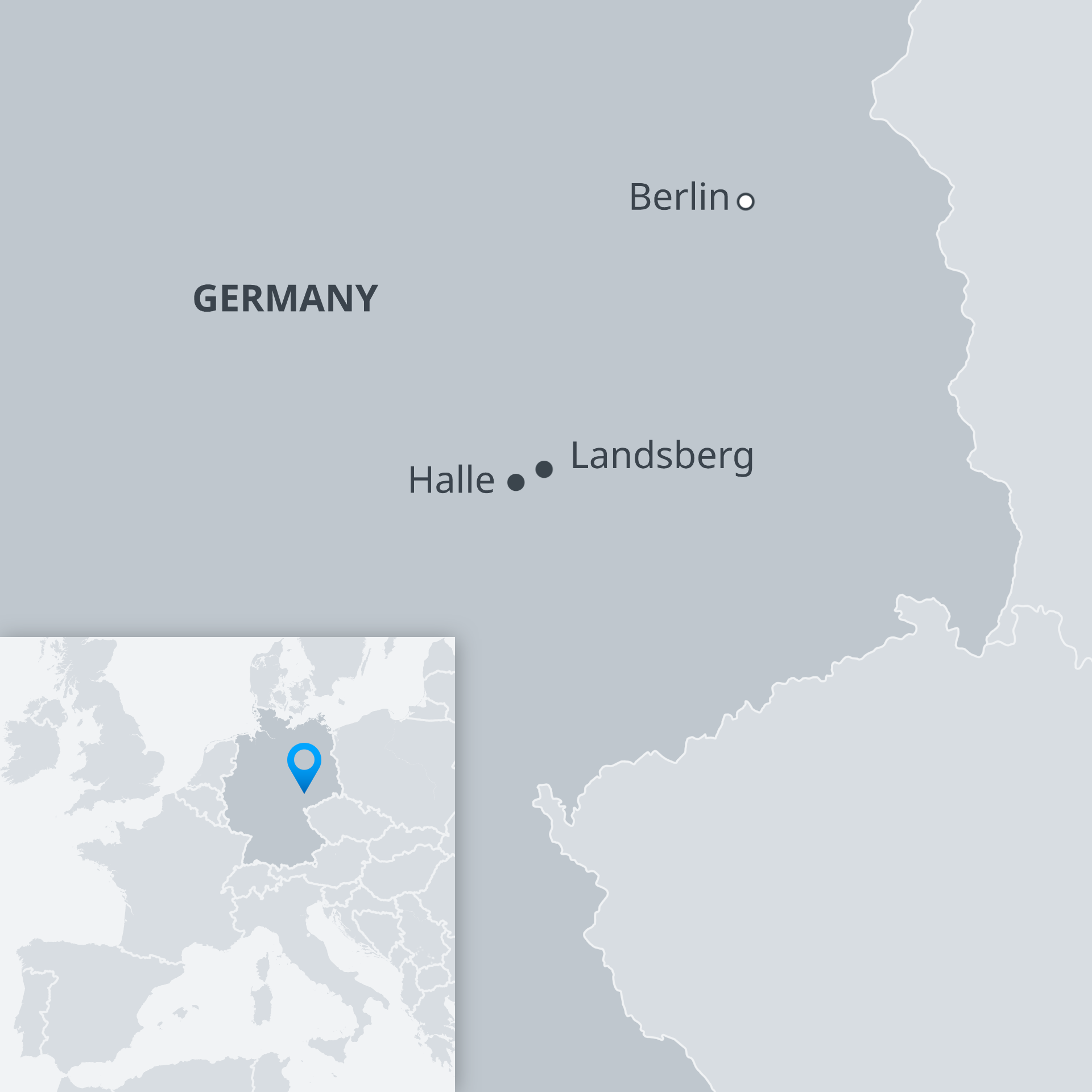 Karte Halle und Landsberg EN
