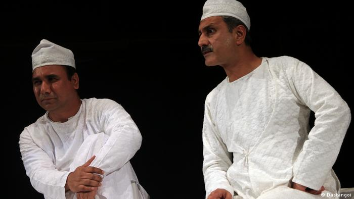 Farooqui and his fellow storyteller in the traditional 'Angarakha' shirt and the 'topi' cap
