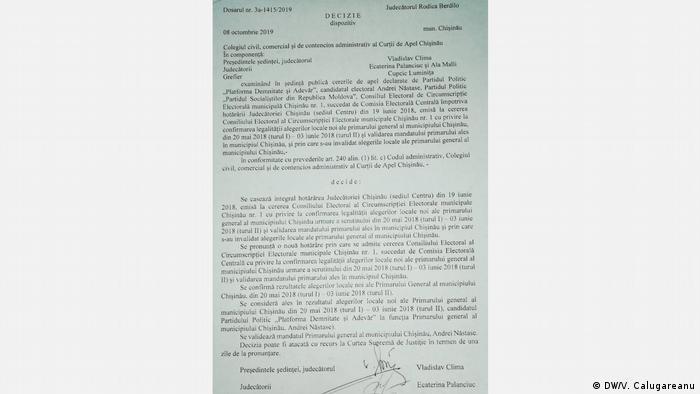 Urteil des Apellhofes in Chisinau