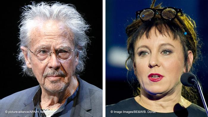 Bildkombo Schweden Stockholm Nobelpreis Literatur 2019 Autor Peter Handke / 2018 Olga Tokarczuk